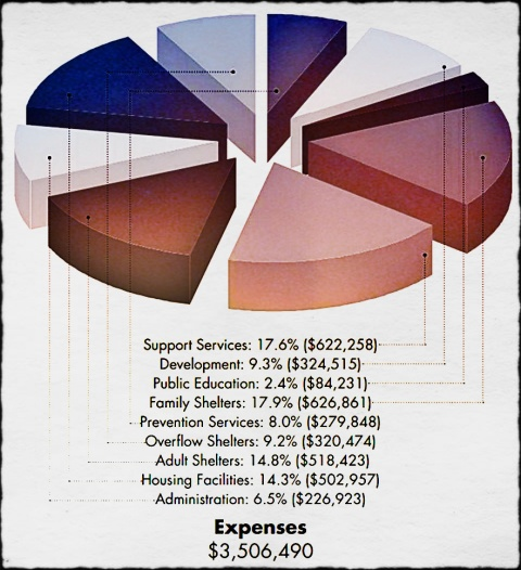 In this pie chart, supporters can easily trace where all raised funds go in order to allow us to provide services to our community. Of the $3,306,502 of revenue COTS took in Fiscal Year 2012, none was diverted towards third party fundraisers.